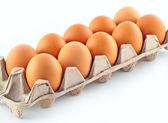 Ten eggs in the cassette — Stock Photo