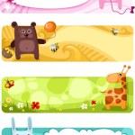 Милый животных карты набор — Cтоковый вектор