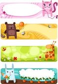 Cute animal card set — Stock Vector