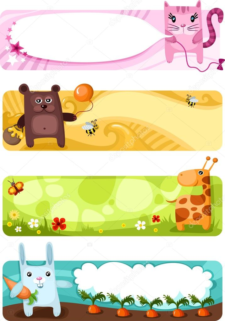 Vector illustration of a cute animal card set  Stock Vector #3930953
