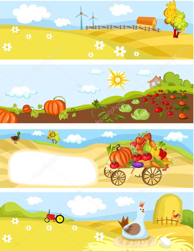Vector illustration of a farm cards  Stock Vector #4562786