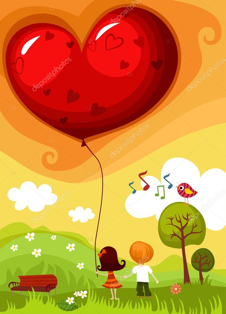 Vector illustration of a Valentine card   #4609204
