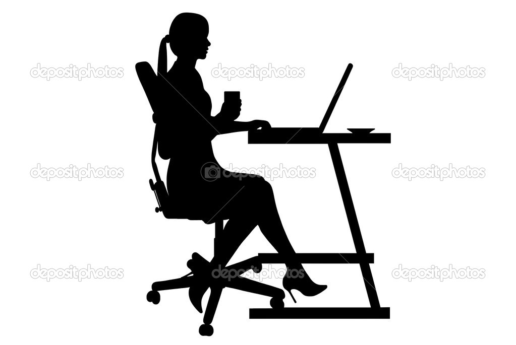 Businesswoman silhouette isolated on white background — Vettoriali Stock  #4368984