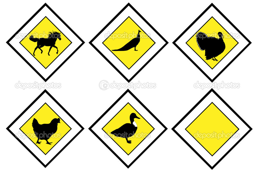 Animal priority signs isolated on white background — Stock Vector #4654968