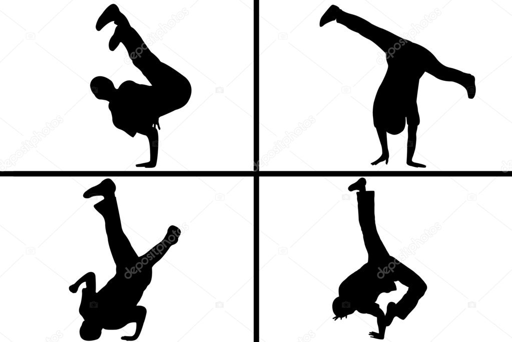 Streetdancer silhouette isolated on white background — Stock Vector #4687382