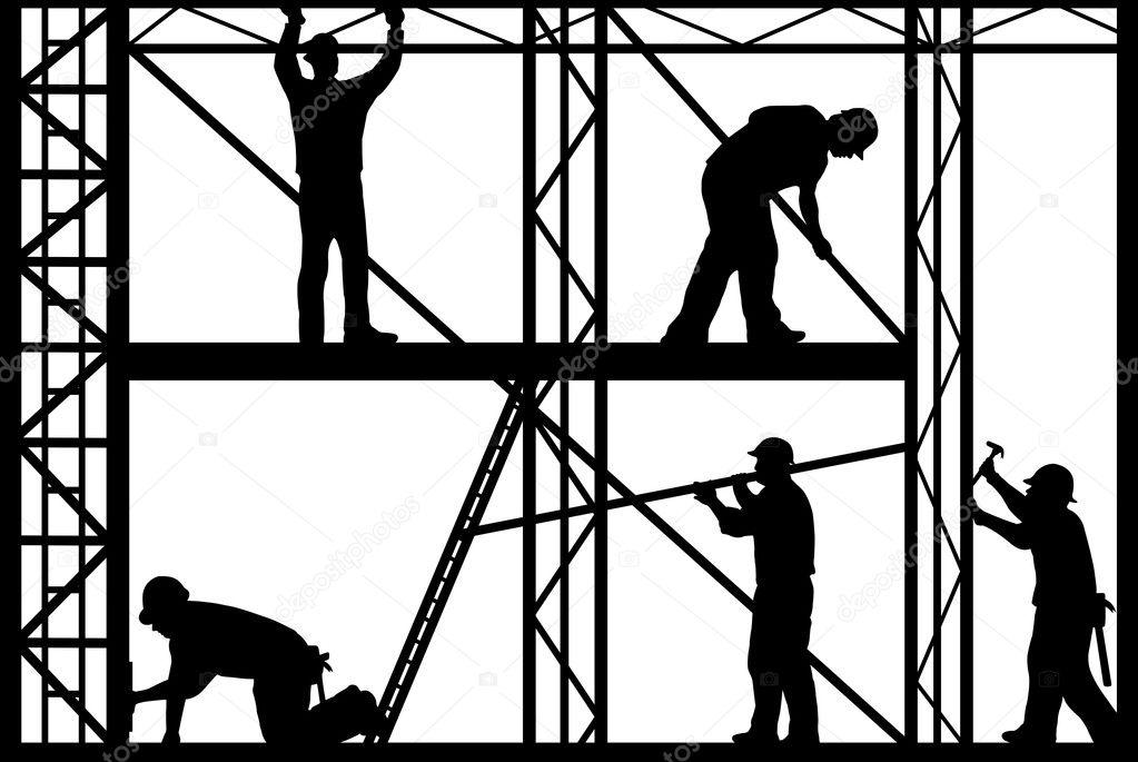 孤立的白色背景上的建筑工人剪影 — 矢量图片作者 dece11