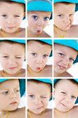 儿童情绪拼贴画 — 图库照片