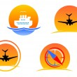 Aviation and travel symbols — Stock Vector