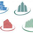 Buildings symbols — Stock Vector