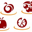 Fruit symbols — Stock Vector