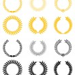 Stock Vector: Set of laurel wreaths