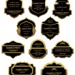 Set of golden labels and frames — Stock Vector