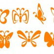 Butterfly symbols — Stock Vector