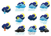 Night weather icons — Stock Vector