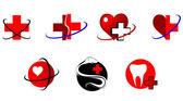 Geneeskunde pictogrammen en tekenen — Stockvector