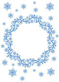 Snow frame and snowflakes — Stock Vector