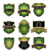 Set groen en goud etiketten — Stockvector