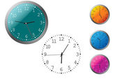 Office clocks in different colors — Stock Vector