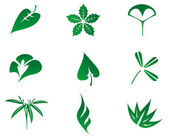 Set of leaves icon — Vector de stock