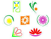 Set of flowers icons — Stock Vector