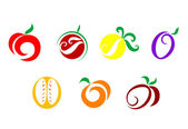 Fruits and vegetable icons — Stock Vector