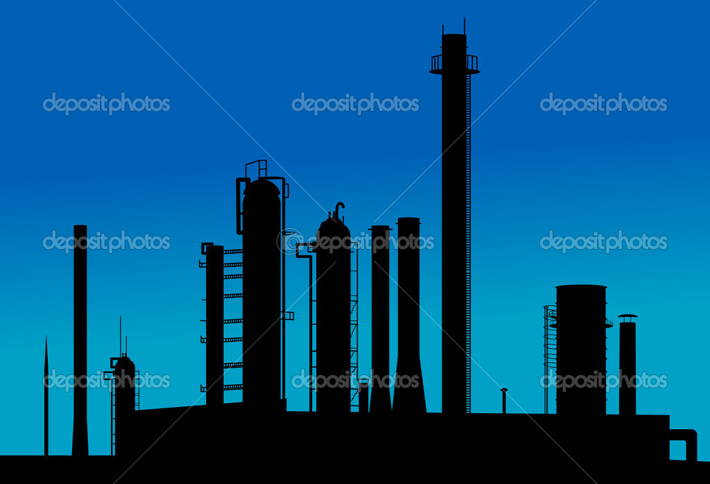 Silhouette of industrial factory on sunset time  Stock Vector #4650883