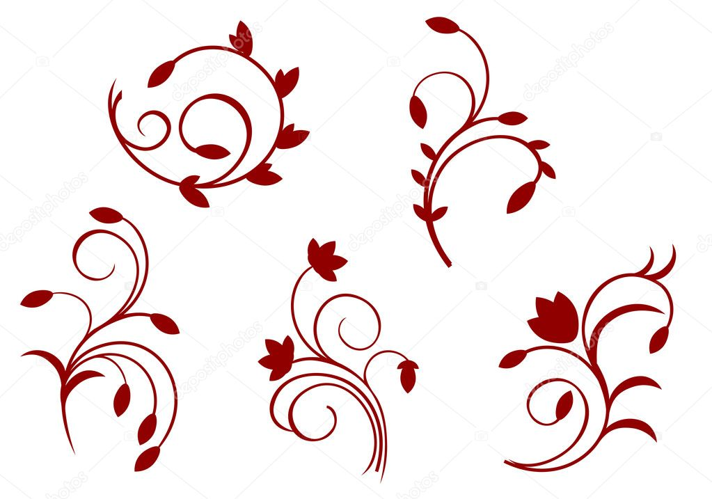 Simplicity floral decorations isolated on the white — Stock Vector #4650904