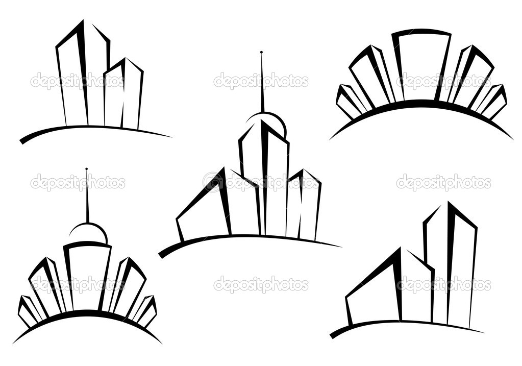 Symbols of modern buildings for design as a real estate concept — Stock Vector #4650908