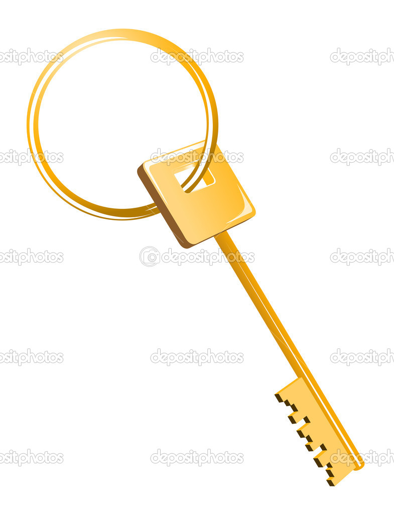 Gold house key isolated on white background  Stock Vector #4650919
