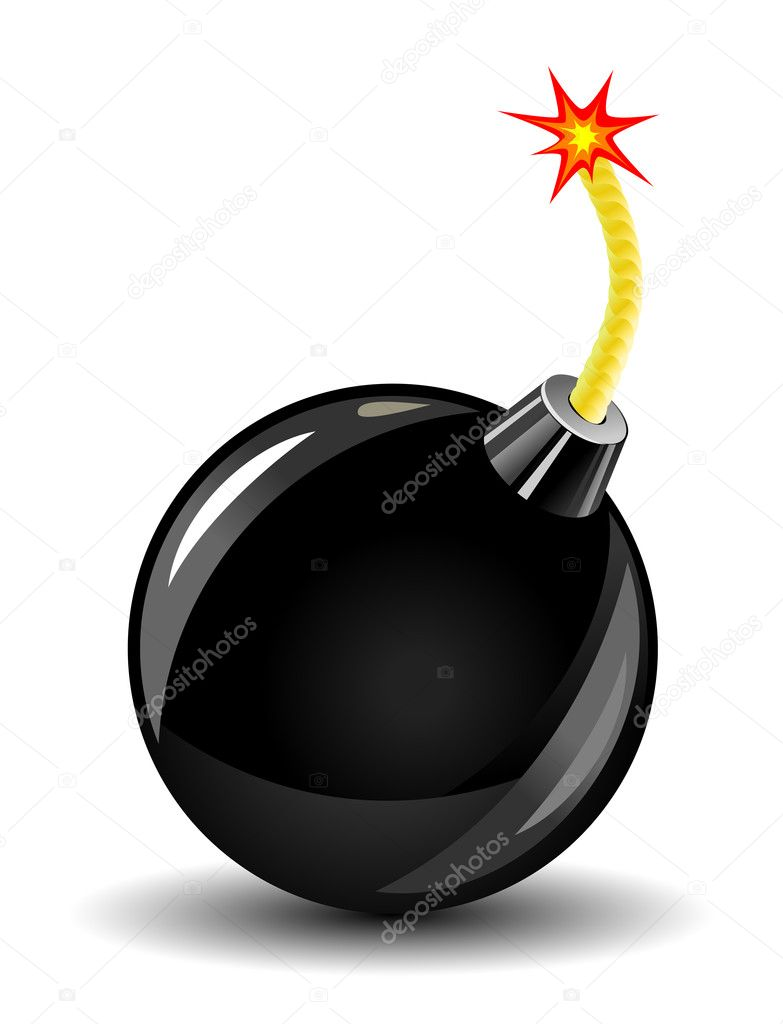 Bomb Icon Facebook Glossy Bomb Icon on White as a