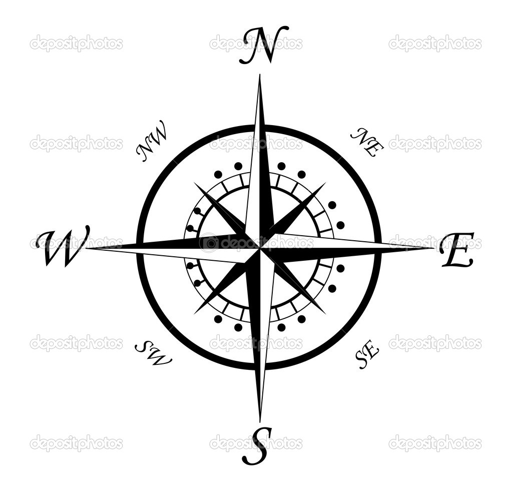 Compass symbol isolated on white for design — Imagen vectorial #4651088