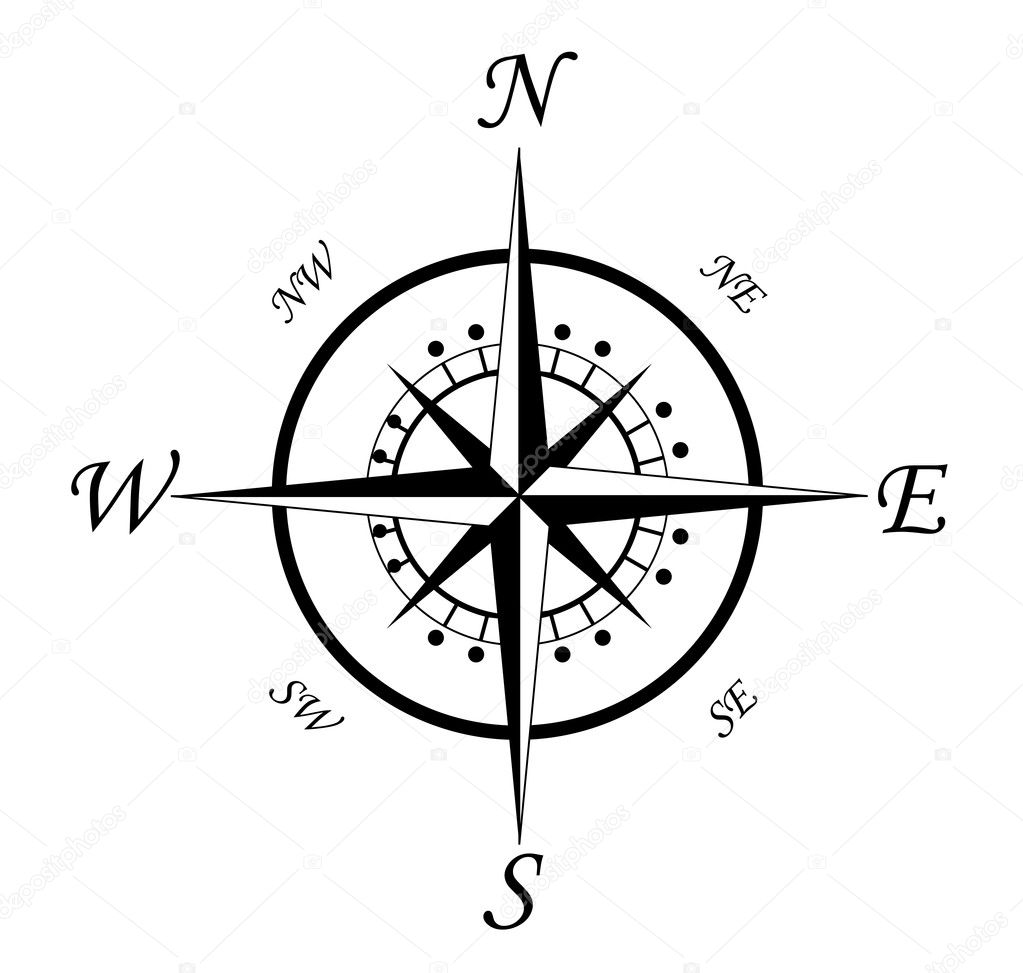Compass symbol isolated on white for design — Векторная иллюстрация #4651088