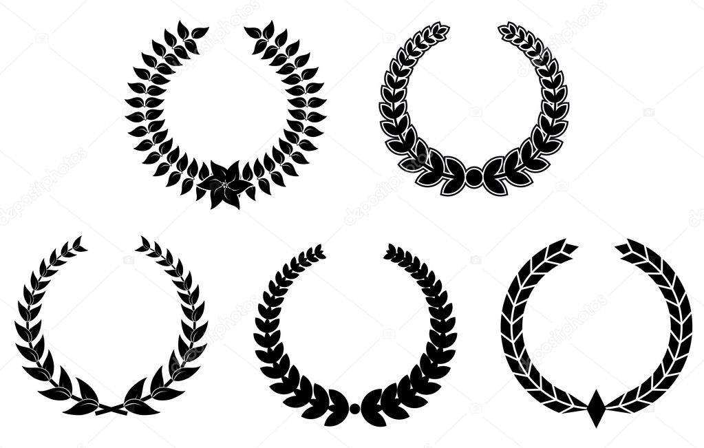 Set of black laurel wreaths for design — Imagen vectorial #4651237