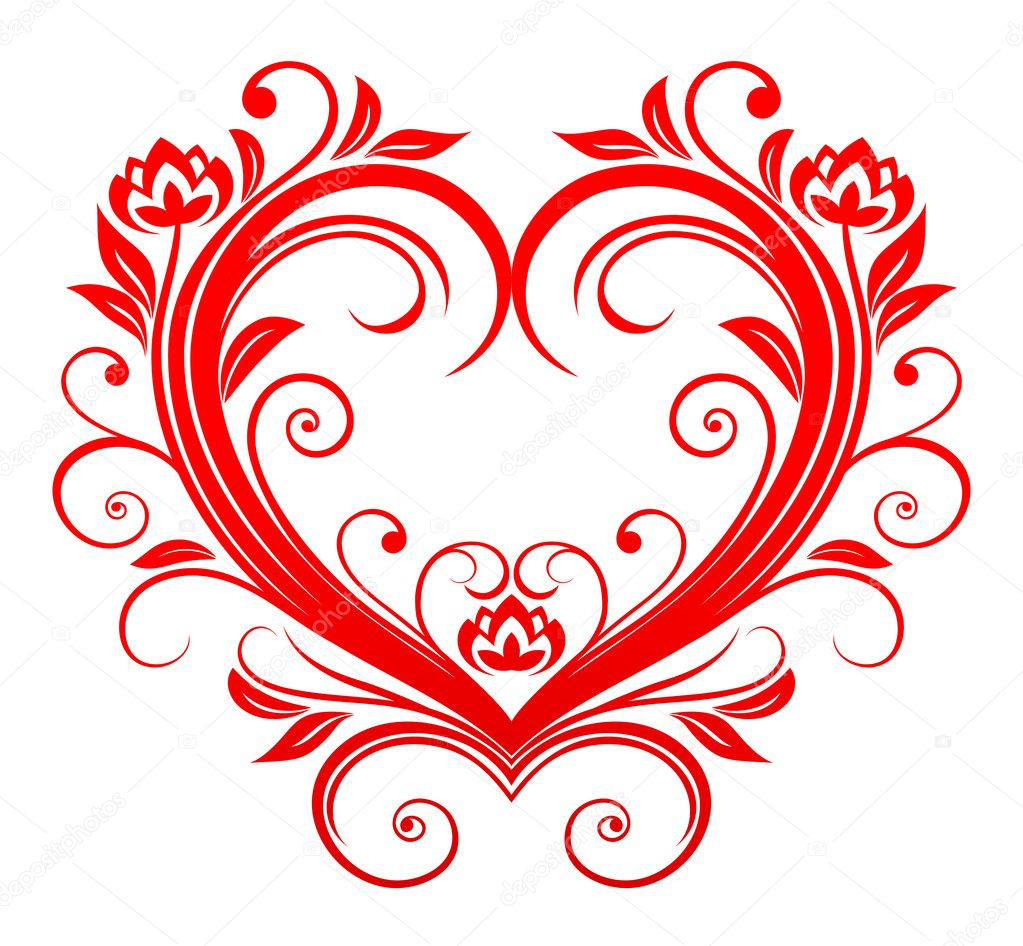 Red valentine heart in floral style for design — Stock Vector #4651295