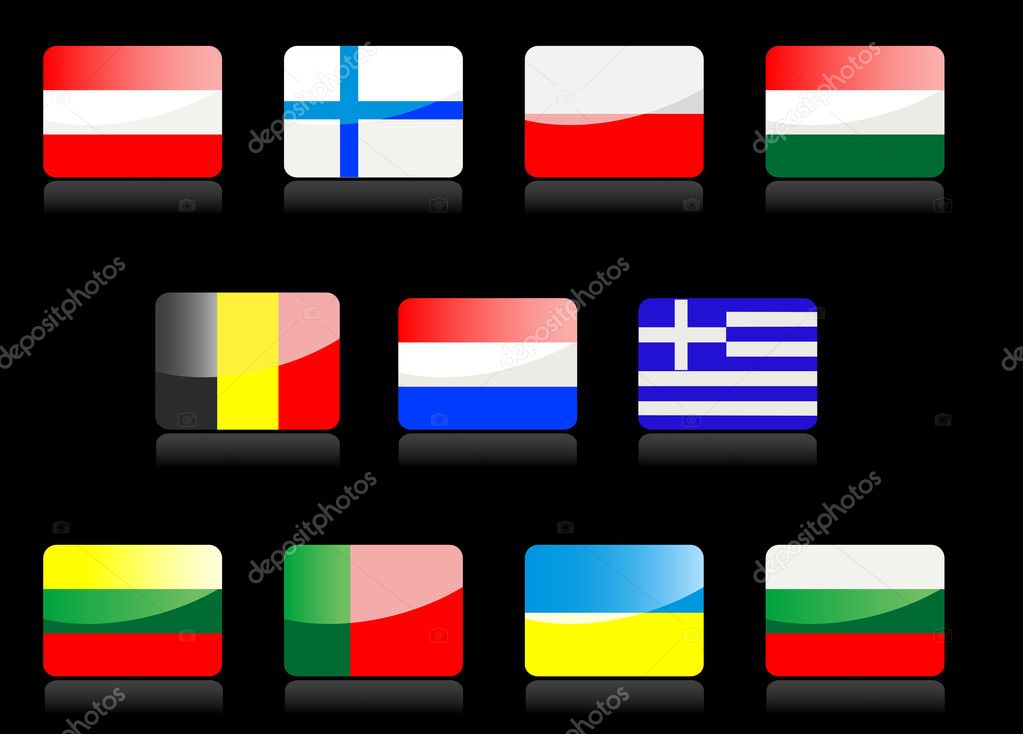 Glossy national flags on the black background — Stock Vector #4657530