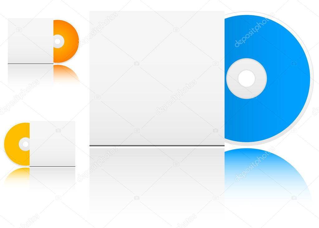 Compact disk with empty box on white background — Stock Vector #4657544