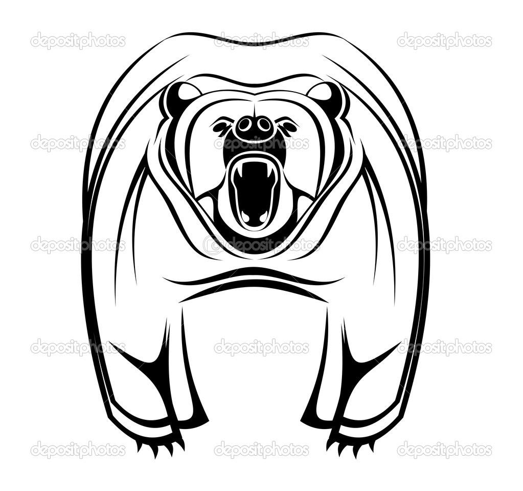 Wild bearas a mascot isolated on white   Stock Vector #4657768