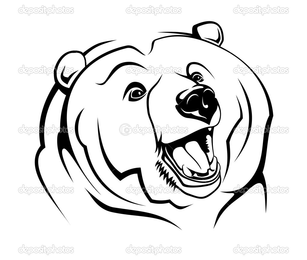 Wild bear as a mascot isolated on white — Stock Vector #4657772