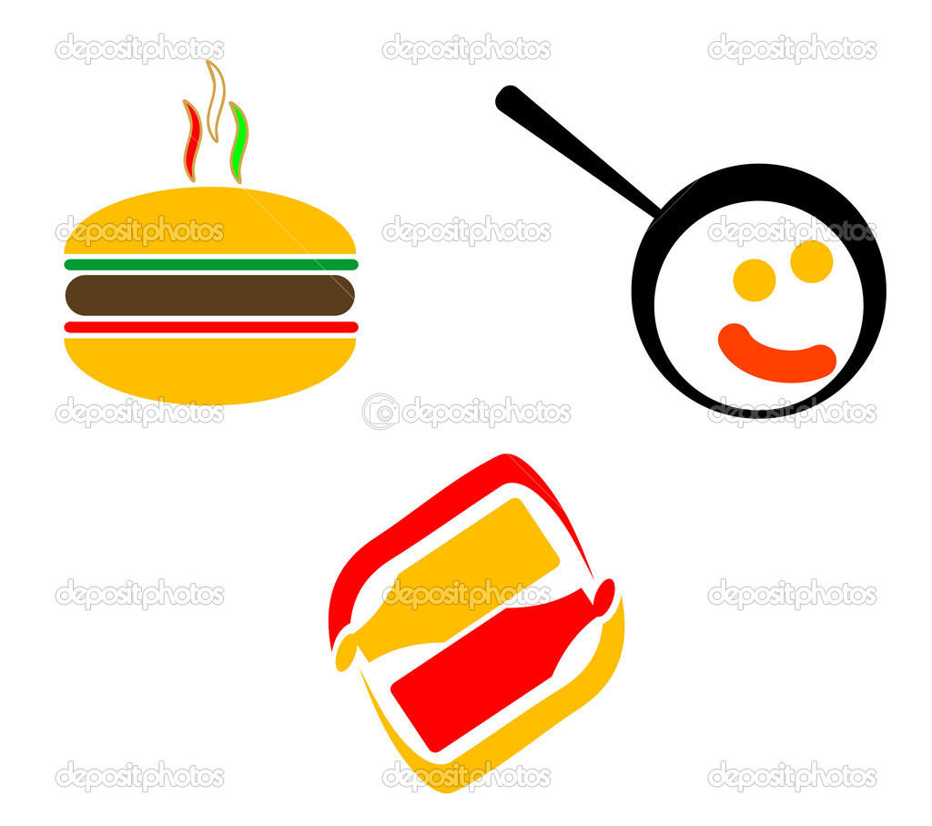 Snap Fast Food Symbols For Design Isolated On White Stock Vector