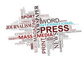 Cloud ετικέτες μέσα μαζικής ενημέρωσης και της δημοσιογραφίας — Διανυσματικό Αρχείο