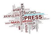 Nuvola di tag di media e giornalismo — Vettoriale Stock