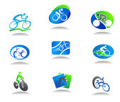 Bicycle sport icons — Stock Vector