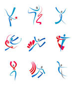 Dancing and sportsmens — Stockvector