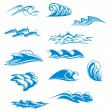 Set of wave symbols — Vettoriali Stock