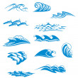 Set of wave symbols — Imagen vectorial