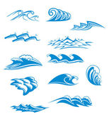 Set of wave symbols — Stockvector