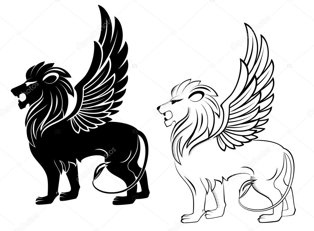 Heraldic Lion with Wings