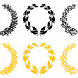 Set of laurel wreaths — Stockvectorbeeld