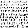 Set of winter sport silhouettes — Stock Vector
