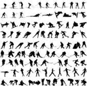 Set of winter sport silhouettes — Stockvector